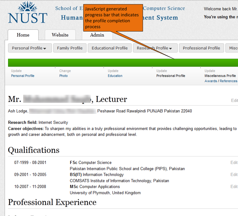 NUST-SEECS Faculty Information System